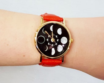 Moon Phase Wrist Watch Celestial Solar Luna Space Jewellery