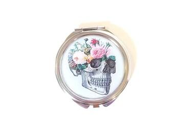 Floral Skull Pocket Mirror Secret Garden Soft Grunge Cute Make up Mirror Pocket Mirror Gift For Her