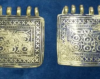2 Antique Vintage Mooltan / Multan Pakistan Silver & Blue Enamel Pendant Pieces