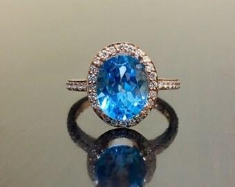 14K Rose Gold Diamond Blue Topaz Engagement Ring - Art Deco Rose Gold Blue Topaz Diamond Wedding Ring - Halo Diamond Ring - 14K Topaz Ring