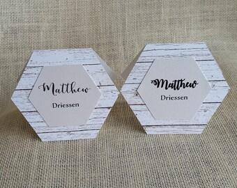 Rustic Hexagon Place Card White - 10cmx8.5cm
