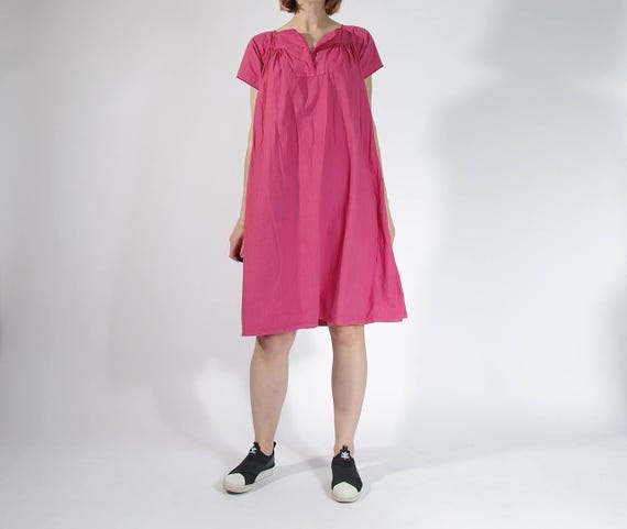 SALE! 70s Boho Pink Flamingo Casual Fit Summer Dress / Size S