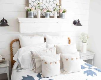 Farmhouse Bear Paw Quilt-Navy-/Throw Blanket- Twin