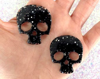 4 pcs - Black Glitter Skull Resin Flatback Cabochon - 36mm - Kawaii - Kitsch - Decoden - Punk - Goth