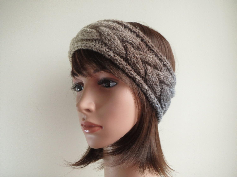 Chunky Wool Earwarmer Headband. Cable Earwarmer Headband.