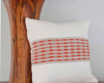 Handwoven Modern Pillow Cover, Coastal Style Pillow,  Decorative Pillow, Throw Pillow, Kilim Pillow, Pillow Cover 12x12, White and Orange