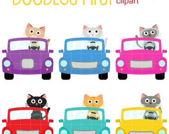 Cat Road Trip Digital Clip Art for Scrapbooking Card Making Cupcake Toppers Paper Crafts
