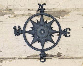 Wall Compass, Cast Iron Wall Compass, Nautical Wall Decor, Beach House Decor, Rose Compass, Compass Rose, Nautical Compass, Nautical Decor