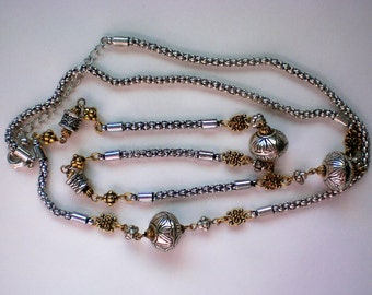 Avon Silver and Gold tone Opera Length Necklace - 4939