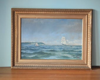 Vintage old oil painting Tall ships framed 1897 London Winsor & Newton Maritime seascape