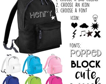 Design Your Own Backpack - Childrens / Toddler / Kids / Baby / Boy or Girl / Personalised with Name / For Nursery School Bag