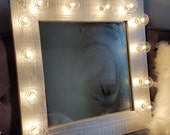 Silver Wood Vanity Mirror Light Up Light Bulbs Rustic Farmhouse Style Shabby Chic Beauty Makeup Room