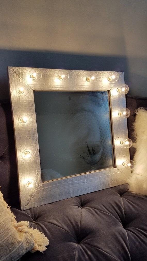 . Silver Wood Vanity Mirror Light Up Light Bulbs Rustic