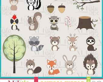 Woodland Animal Clipart, Instant Download, Digital Downloadd