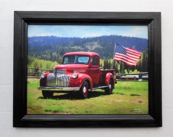 46' Chevy, Truck Picture, American Made II, Art Print, Wall Hanging, Framed Picture, Handmade, 19 X 15, Custom Wood Frame, Made in the USA