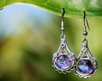 20 % OFF Amethyst earrings Boho Silver chandelier dangle drop earrings Amethyst semi-precious gemstone earrings precious earrings