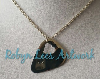 Custom Hand Stamped Initial Letter Stainless Steel Guitar Pick Plectrum on Silver Crossed Chain. Music, Musician, Gift, Bass