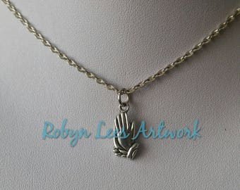 Small Silver Praying Hands Charm Necklace on Silver Crossed Chain or Black Faux Suede Cord