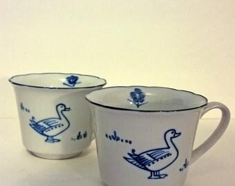 Vintage Duck Mugs, C. Steele Collection, Vintage Cordon Bleu, White and Blue, Floral Vintage Tea Cup or Coffee Mug, Hand Painted Porcelain