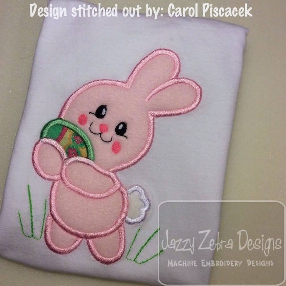 Bunny with Easter Egg 150 appliqué embroidery design - Easter appliqué design - rabbit appliqué design - bunny appliqué design