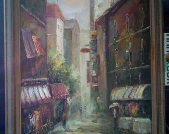 Expressionist European French or Italian City Landscape Oil Painting on Canvas