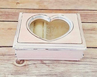 Pink Jewelry Box | Rustic Jewelry Box | Wood Ring Bearers Box | Rustic Wedding | Up Cycled | Eco Friendly | READY TO SHIP