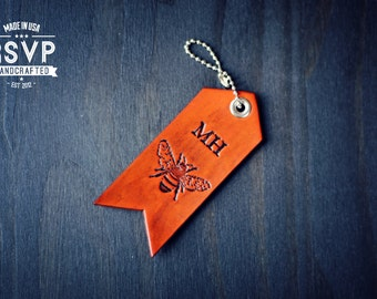 Custom Personalized Leather Luggage Tag, Initials Key Chain, Party Favor, Keychain, Keyring, travel, wanderlust, honey bee, arrow, Name