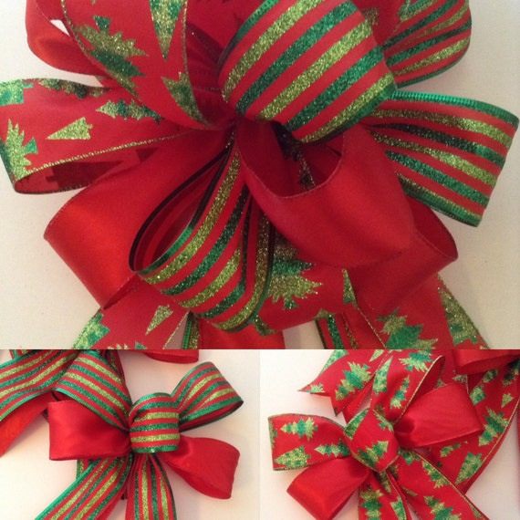Christmas Tree Bows Decorations: Christmas Bows /Christmas Tree Topper / Christmas Decor Set Of