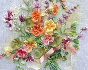 Sunny Disposition Silk Ribbon embroidery, Nasturtiums, Honeysuckles, Lavender, Indian Cress, Wall Textile Art