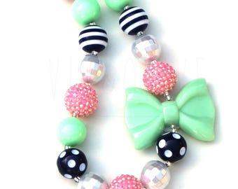 Chunky Necklace - Children's Necklace - Bubblegum Necklace - Kid's Jewelry - Kid's Necklace - Girl's Bubblegum Jewelry - Girls Bow Necklace