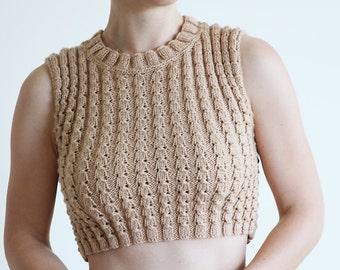 Knitted top shirt - Crop Top - Knit Crop Top - beige wool top - Hippie Crop Top - knitted sweater - cashmere wool top - Tshirt Cropped Top