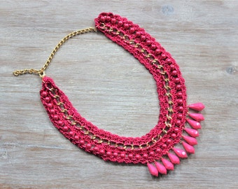 Pink Crochet Chain Necklace
