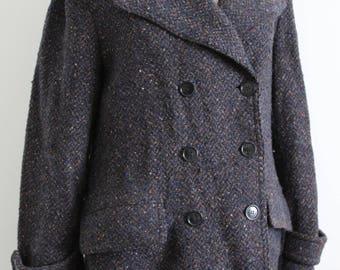 1940s Style Tweed Wool Marc Jacobs Military Coat