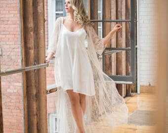 Silky Slip Dress - White Slip Dress For Under Lace Bridal Robe - Gift for Bride -
