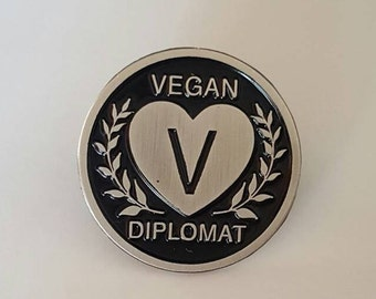 "Vegan Diplomat 1"" Soft Enamel Lapel Pin"