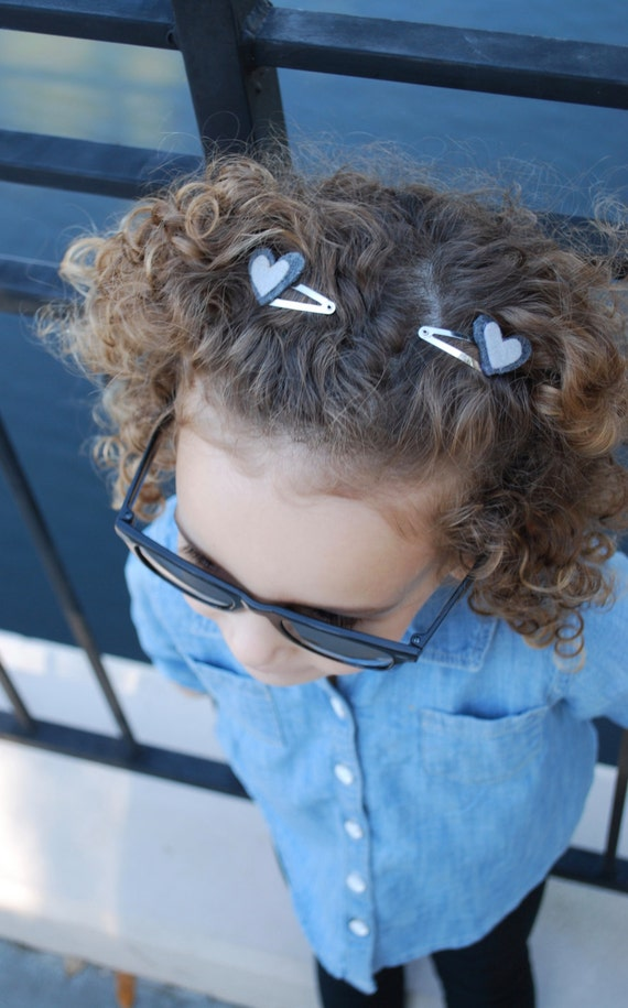 Girls Grey Heart Hair Clip Set - Heart Hair Clips - Felt Heart Hair Clips - Girls Hair Clips -Baby Girl Hair Clips-Kids Hair Clips