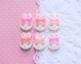 6 Pcs Assorted Pink Glittery White Sleeping Bunny Cabochons - 18x13mm