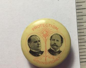 "1896 McKinley Hobart Political Screwback Button  ""Protection Sound Money """