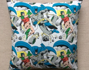 Vintage 1960s Batman And Robin Fabric Cushion Complete With Interior 40cmx40cm