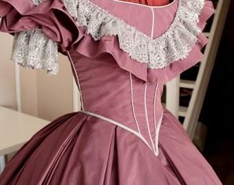 "Victorian mauve lace taffeta prom dress silver. 1860 ball gown. Model ""Mauve"""