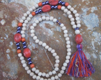 Long Beaded tassel necklace purple & orange natural wooden beaded necklace  Bohemian necklace boho necklace Clemson Tigers inspired jewelry