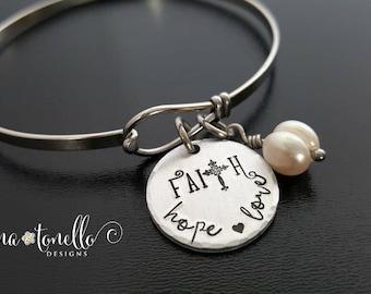 Faith Hope Love Bracelet, Religious Bracelet, Confirmation Bracelet, Cross Bracelet, Catholic Jewelry, Religious Teacher Gift,Spiritual Gift