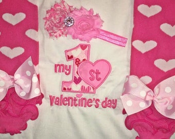Baby Girl Valentine's Day Outfit, Baby Girl Valentine's Outfit, Girl First Valentine's Day Outfit, Girl 1st Valentine's Outfit