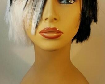 Short Two-Tone Wig, Short Black and White Wig, Short Asymmetrical Wig, Short Black and White Choppy Bob, Choppy Bob,