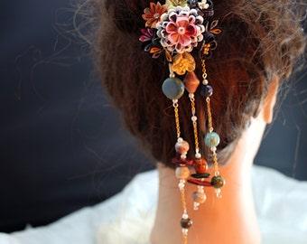 Janpanese yukata kanzashi hair fork, kanzashi flower, flower fork, hair fork-S06