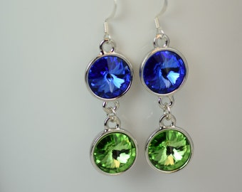 Seattle Seahawks Swarovski Earrings - Swarovski Crystal Earrings - Blue and Green Swarovski Rivoli Earrings