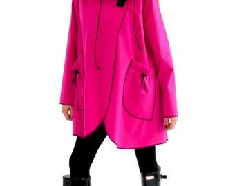 Cameleon   Soft shell Dintex(R) Trudy Jacket   lightweight swing hood rain coat   denim black charcoal ocean blue turquoise coral