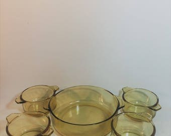 Rare Pyr-O-Rey Amber Large Casserole Dish and 4 Small Casserole Dishes, Set of 5