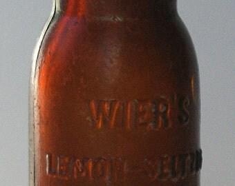 WIER'S LEMON Seltzer Washington D.C Amber Headache Medicine Apothecary Pharmacy Remedy Druggist Pharmacist Dentist MD + More Antique Bottles