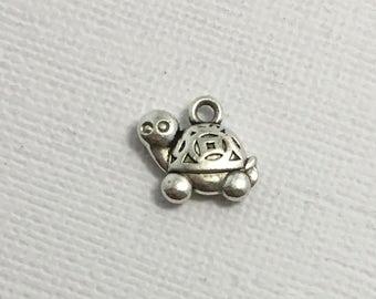 Turtle Charms x 5 Silver Pendant Tortoise Sea Ocean Animal Jewellery #086